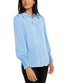Shayna Silk Smocked-Cuff Blouse