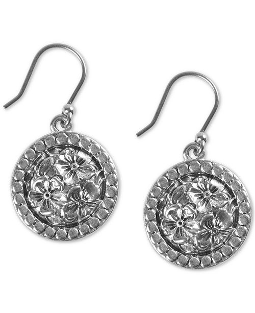 Lucky Brand Silver-Tone Etched-Floral Drop Earrings