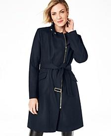 Petite Belted Asymmetrical Walker Coat