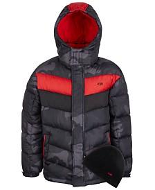 CB Sports Big Boys 2-Pc. Colorblocked Puffer Jacket & Hat Set