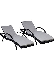 Westin Furniture Reclining Chaise Lounge with Cushion, Set of 2