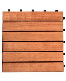Outdoor Patio 6-Slat Eucalyptus Interlocking Deck Tile Set of 10 Tiles