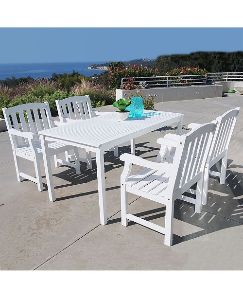 VIFAH Bradley Outdoor 5-Piece Wood Patio Dining Set