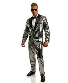 Men's Disco Ball Silver Tuxedo Set With Pants