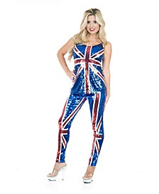 Women's British Sequin Top And Pants Adult Costume