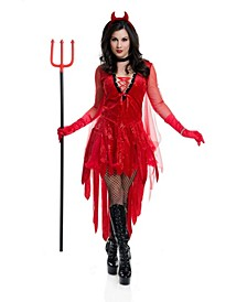 Women's Devil Adult Costume, Fake Ptich Fork Not Included