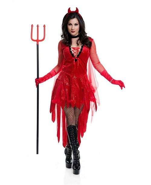 BuySeasons Women's Devil Adult Costume, Fake Ptich Fork Not Included