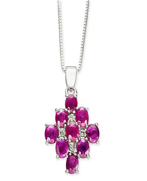 "Macy's Certified Ruby (3-1/6 ct. t.w.) & Diamond (1/20 ct. t.w.) 18"" Pendant Necklace in Sterling Silver"