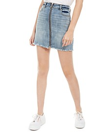 Juniors' Zippered Denim Skirt