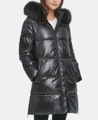 Black XS DKNY Hooded Down Puffer Coat