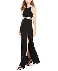 Juniors' Illusion-Waist Halter Gown