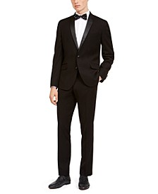 Men's Slim-Fit Performance Stretch Black Tonal Houndstooth Tuxedo