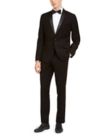 Billy London Men's Slim-Fit Performance Stretch Black Tonal Houndstooth Tuxedo