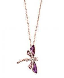 EFFY® Amethyst(1-1/10 ct. t.w.) & Pink Amethyst(1/5 ct. t.w.) & Diamond Accent Butterfly Statement Pendant Necklace in 14k Rose Gold