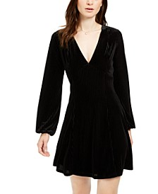 Long-Sleeve Velvet-Stripe Dress