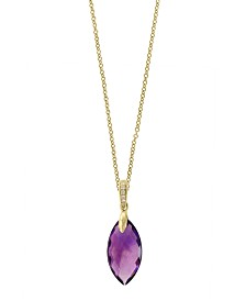 EFFY® Amethyst(5 ct. t.w.) & Diamond Accent Pendant Necklace in 14k Gold