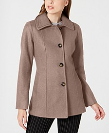 Petite Single-Breasted Double-Collar Coat