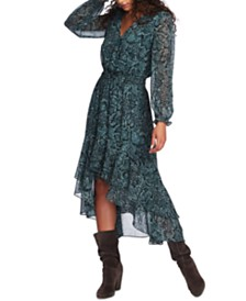 1.STATE Printed Faux-Wrap Dress
