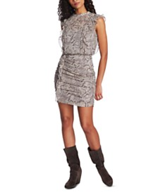 1.STATE Ruched Ruffled Snake-Print Dress