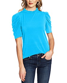 Puff-Sleeve Ruffled-Neck Top