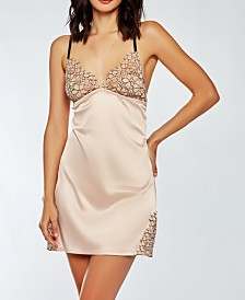 iCollection Contrast-Trim Silky Chemise with Eyelash Flower Lace