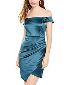 Juniors' Off-The-Shoulder Ruched Dress