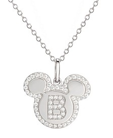 "Mickey Mouse Cubic Zirconia Initial Pendant 18"" Necklace in Sterling Silver"