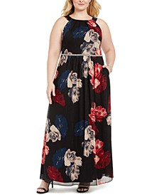 Plus Size Printed Bead-Waist Maxi Dress