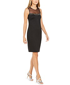 Beaded Illusion Sheath Dress