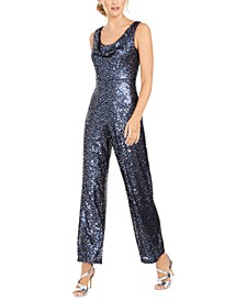 Cowl-Neck Sequined Jumpsuit