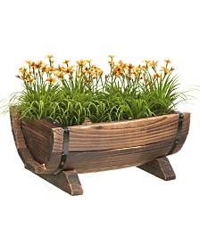 Gardenised Half Barrel Garden Planter - Small