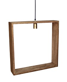 Solis Wooden Square Frame Hanging Pendant in Weathered Vintage-Inspired Bushed Retro Bulb Holder 25 Watt