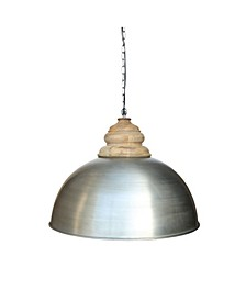 Dom Retro Zinc Pendant with Accent Solid Wood Hand Carved Shade Holder in Brushed Retro Zinc Natural Lacquered Finish 25 Watt