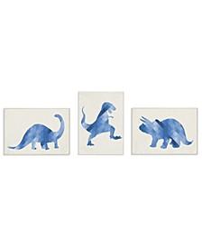 "Blue Geometric Ombre Dinosaurs 3 Piece Wall Plaque Art Set, 10"" x 15"""