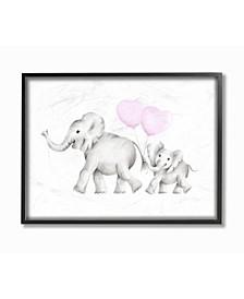 "Mama and Baby Elephants Framed Giclee Art, 11"" x 14"""