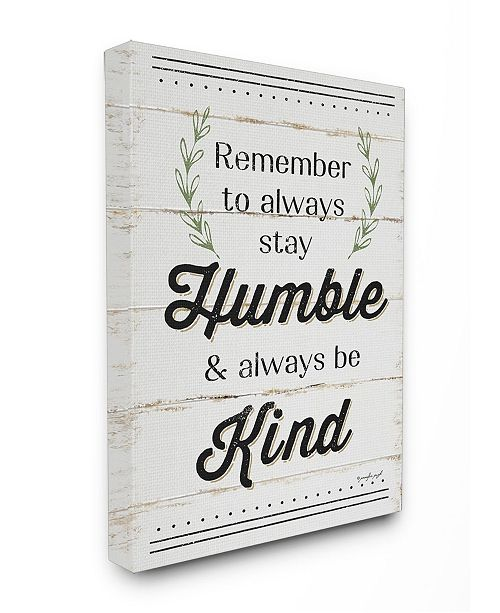 "Stupell Industries Humble and Kind Rosemary Sprig Typography Canvas Wall Art, 24"" x 30"""