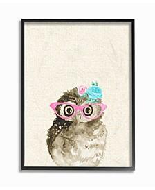 "Woodland Owl with Cat Eye Glasses Framed Giclee Art, 11"" x 14"""