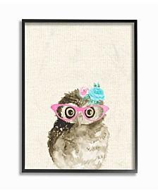 "Stupell Industries Woodland Owl with Cat Eye Glasses Framed Giclee Art, 11"" x 14"""