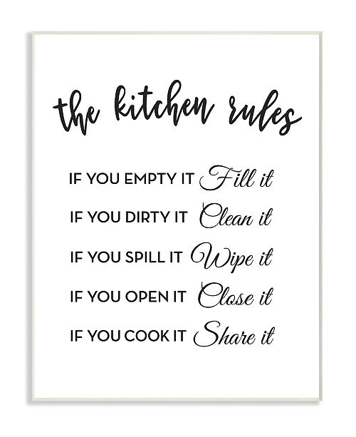 "Stupell Industries The Kitchen Rules If You… Wall Plaque Art, 10"" x 15"""