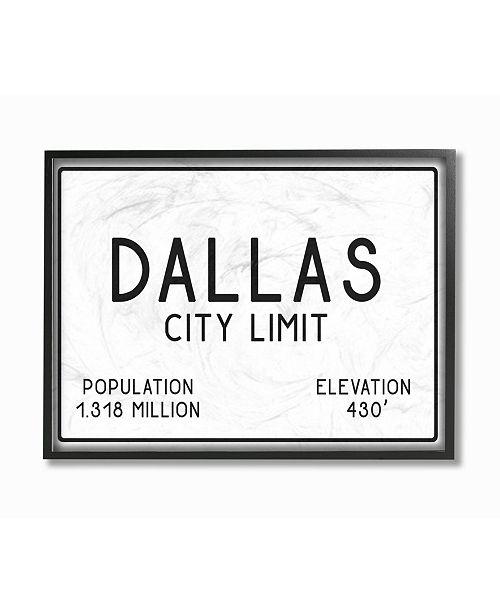 "Stupell Industries Dallas City Limit Framed Giclee Art, 11"" x 14"""
