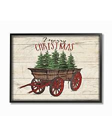 "Merry Christmas Tree Wagon Framed Giclee Art, 11"" x 14"""