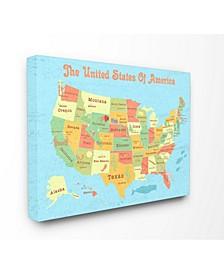 "United States of America USA Kids Map Canvas Wall Art, 30"" x 40"""