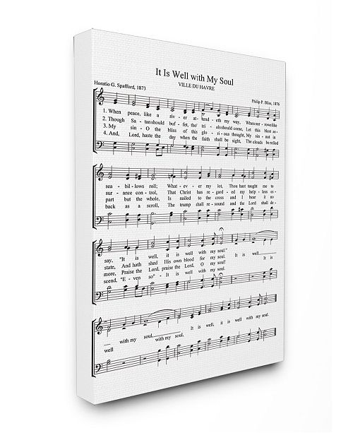 """Stupell Industries It is Well With My Soul Vintage-Inspired Sheet Music Canvas Wall Art, 30"""" x 40"""""""