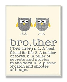 """Stupell Industries Home Decor Definition Of Brother with Two Gray Owls Wall Plaque Art, 12.5"""" x 18.5"""""""