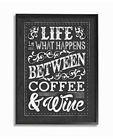 "Home Decor Life, Between Coffee and Wine Chalk Art Framed Giclee Art, 16"" x 20"""
