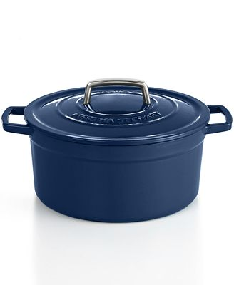 Martha Stewart Collection Blueberry Collector's Enameled Cast Iron 6 Qt. Round Casserole, Only at Macy's