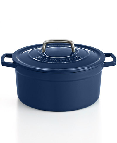 Martha Stewart Collection Blueberry Collector's Enameled Cast Iron 6 Qt. Round Casserole, Created for Macy's