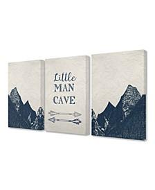 "Little Man Cave Arrows And Mountains 3 Piece Canvas Art Set, 16"" x 20"""