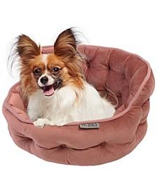 Tufted Plush Velvet Round Cuddler Pet Bed