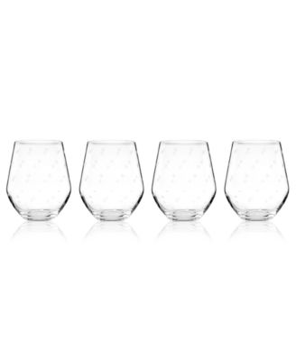 Set of 4 Larabee Dot Stemless White Wine Glasses